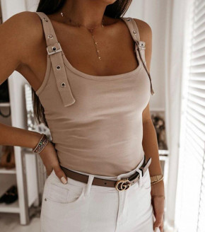 Γυναικείο αμάνικο μπλουζάκι 7736 μπεζ