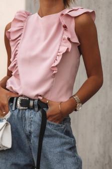 Γυναικεία μπλούζα με βολάν 2154 ροζ
