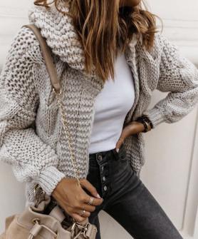 Γυναικεία κοντή ζακέτα με κουκούλα 9106 μπεζ