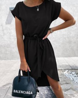 Γυναικείο φόρεμα κρουαζέ 30688 μαύρο