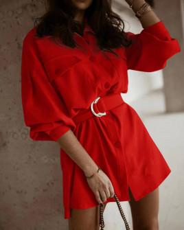 Γυναικείο φόρεμα με ζώνη 5509 κόκκινο