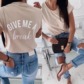 Γυναικείο κοντομάνικο μπλουζάκι  3293 μπεζ