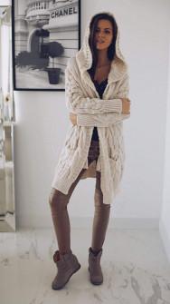 Γυναικεία πλεκτή ζακέτα με κουκούλα 7182 μπεζ