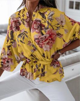 Γυναικεία μπλούζα με κορδόνι στη μέση 5033 κίτρινο