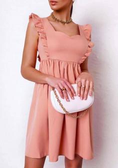 Γυναικείο φόρεμα με εντυπωσιακό ντεκολτέ 20510 ροδακινί
