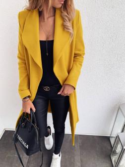 Γυναικείο χαλαρό παλτό με φόδρα 58941 μουσταρδί