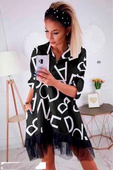 Γυναικείο φόρεμα με print και δαντέλα 502403 μαύρο