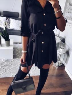 Γυναικείο χαλαρό φόρεμα με ζώνη 2973 μαύρο