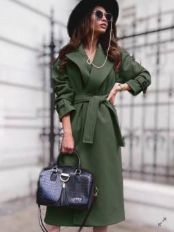 Γυναικείο παλτό με φόδρα και ζώνη 5979  πράσινο