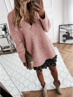 Γυναικείο χαλαρό πουλόβερ 8056 ροζ