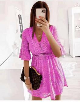 Γυναικείο φόρεμα με δαντέλα 5521 φούξια