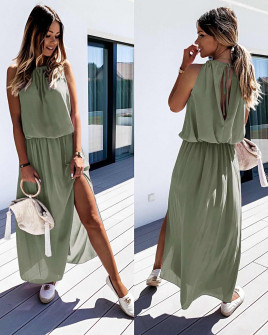 Μακρύ χαλαρό φόρεμα 5171 σκούρο πράσινο