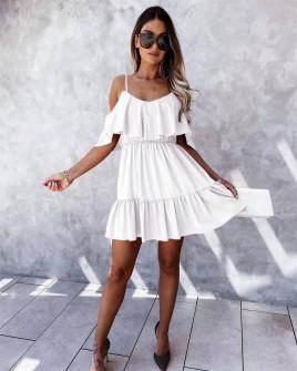 Γυναικείο κοντό κλος φόρεμα 5700 άσπρο