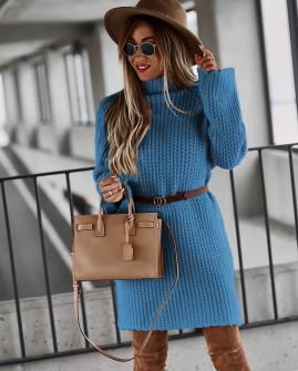 Γυναικείο πλεκτό μπλουζοφόρεμα 00811 μπλε