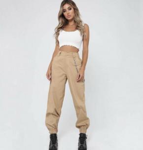 Γυναικείο παντελόνι με αλυσίδα p076 μπεζ