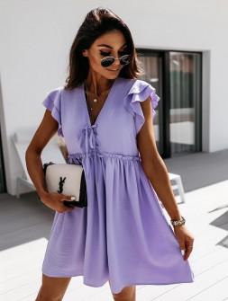 Γυναικείο φόρεμα με κορδόνια 2481 λιλά
