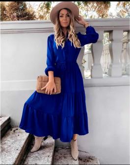 Γυναικείο μακρύ φόρεμα με κουμπιά 5337 μπλε ρουά