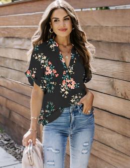 Γυναικεία μπλούζα φλοράλ 2409 μαύρη