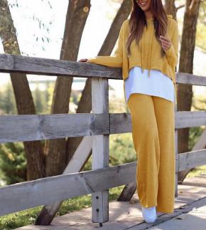 Γυναικείο σετ μπλούζα και παντελόνι 5524 κίτρινο
