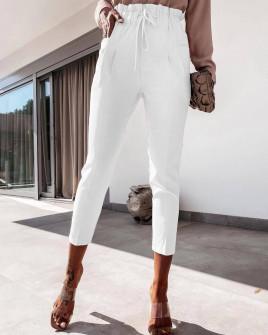 Γυναικείο ελαστικό παντελόνι 2126 άσπρο