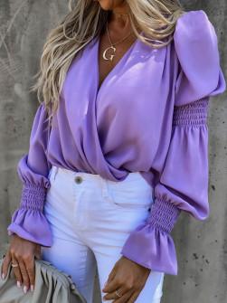 Γυναικεία μπλούζα με εντυπωσιακό μανίκι 8553 λιλά