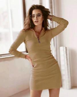 Γυναικείο εφαρμοστό φόρεμα με φερμουάρ 5506 καμηλό
