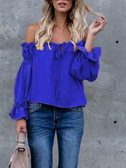Дамска блуза с ластично деколте 3168 синя