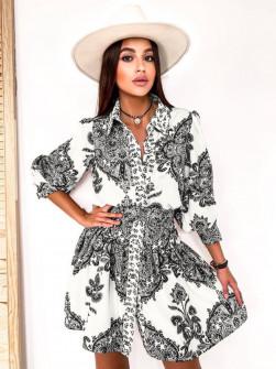 Γυναικείο φόρεμα με σχέδια με ζώνη στη μέση 5490 άσπρο/μαύρο