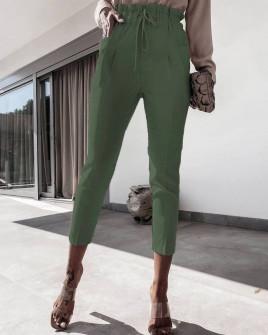 Γυναικείο ελαστικό παντελόνι 2126 χακί