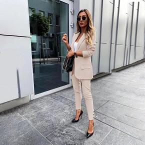 Γυναικείο σετ σακάκι και παντελόνι 3998 μπεζ