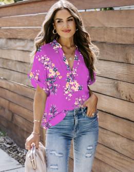 Γυναικεία μπλούζα φλοράλ 2409 φούξια