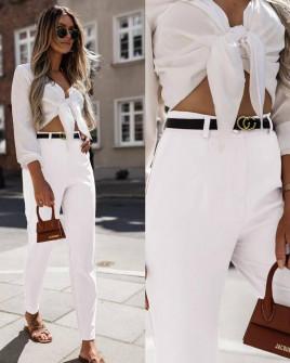 Γυναικείο παντελόνι με ζώνη 5887 άσπρο