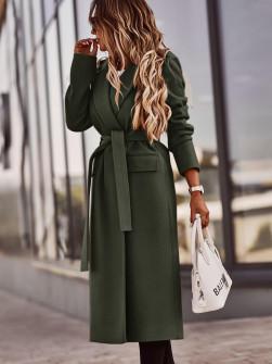 Γυναικείο μακρύ παλτό 5371 χακί