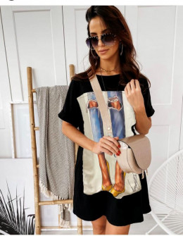 Γυναικείο μπλουζοφόρεμα με στάμπα 215609