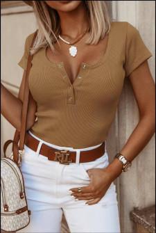 Γυναικείο κοντομάνικο μπλουζάκι 5586 καμηλό