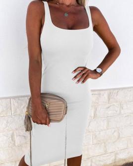 Γυναικείο εφαρμοστό φόρεμα 3333 άσπρο