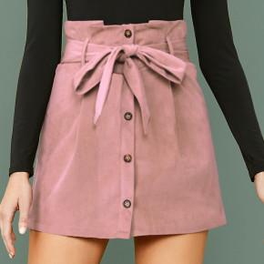 Γυναικεία φούστα με ζώνη 7079 κοραλί