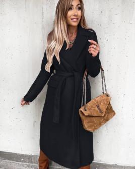 Γυναικείο μακρύ παλτό με ζώνη και φόδρα 6056 μαύρο