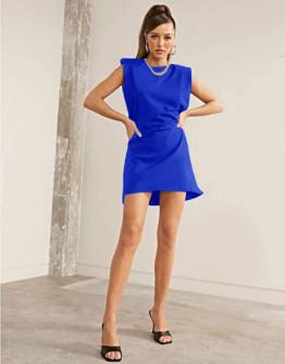 Γυναικείο φόρεμα με βάτες στους ώμους 5151 μπλε
