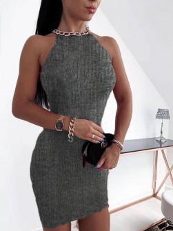 Εντυπωσιακό φόρεμα 2675 γκρι