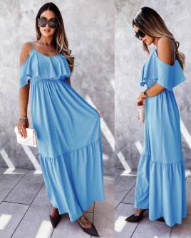 Γυναικείο μακρύ φόρεμα 5701 γαλάζιο