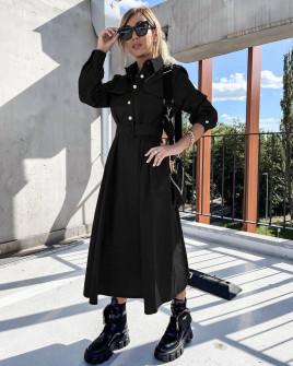 Γυναικείο μακρύ φόρεμα με ζώνη 8046 σκούρο μαύρο