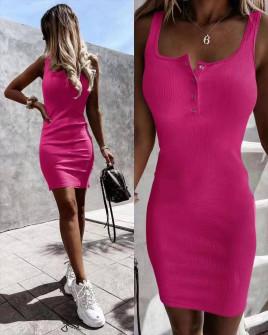 Γυναικείο εφαρμοστό φόρεμα 5715 φούξια