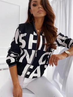 Γυναικείο μπουφάν με print 3337 μαύρο