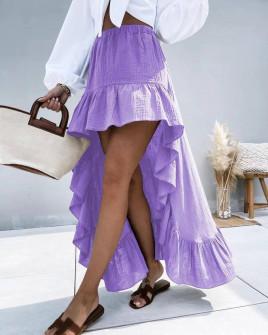 Γυναικεία ασύμμετρη φούστα 21253 μωβ