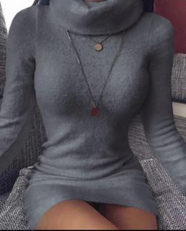 Χνουδωτό φόρεμα με ζιβάγκο 2658 γραφίτη