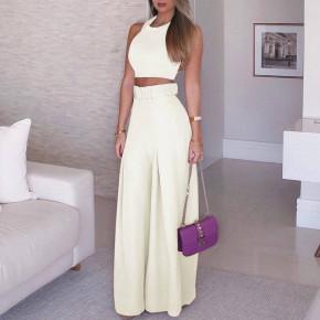 Γυναικείο σετ τοπάκι και παντελόνι με ζώνη 908990 άσπρο