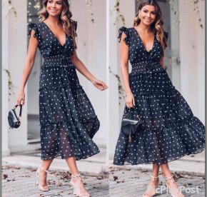Γυναικείο μακρύ φόρεμα πουά 21263