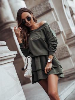 Γυναικείο σετ μπλούζα και φούστα 4095 σκούρο πράσινο