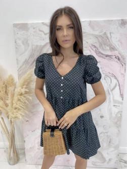 Γυναικείο φόρεμα πουά 21226 μαύρο